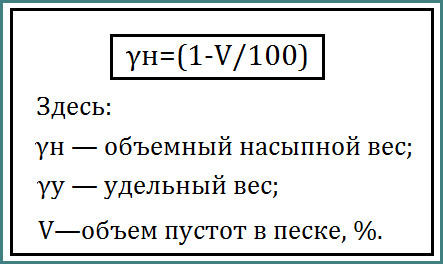 Объемный вес песка в 1 м³, анализ-1