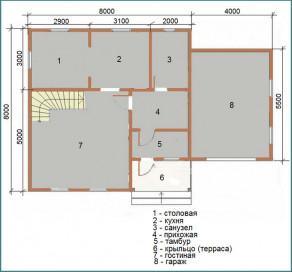 Особенности проекта дома из бруса 8х10 с гаражом-1