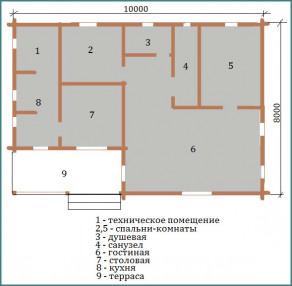 Проекты деревянных одноэтажных домов из бруса с фото-2