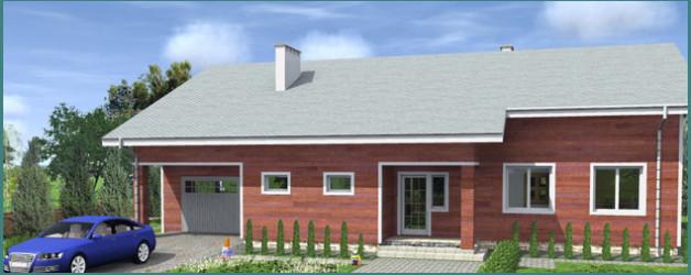 Особенности   проектов одноэтажных домов из бруса с гаражом